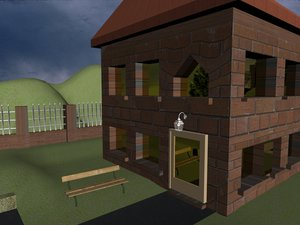3d model house trees fence