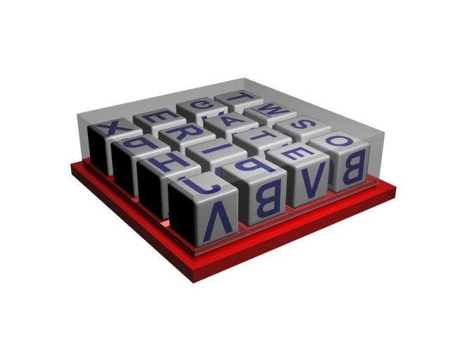 3d boggle letter model