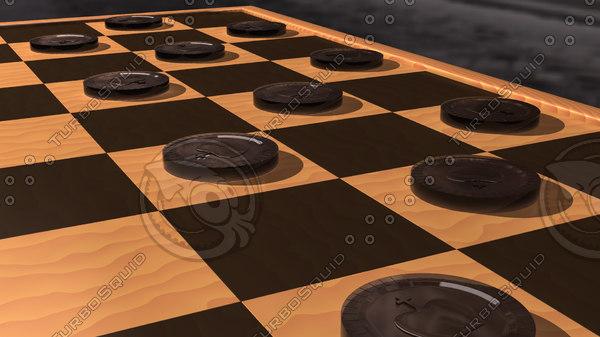3d lwo black checker piece