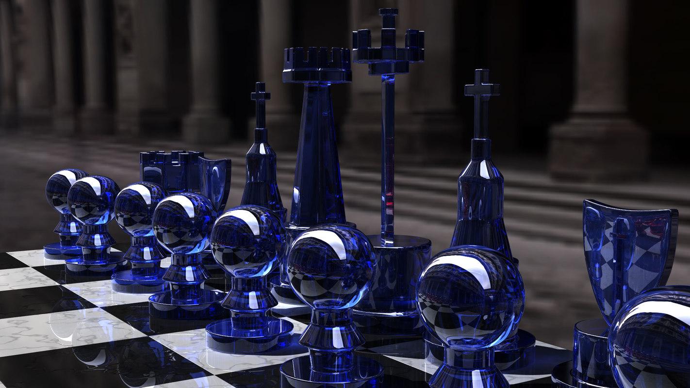 white chess set 3d model