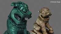 3ds max chinese dogs sculpture
