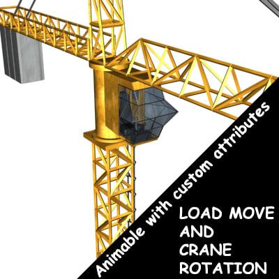 3d crane animable custom model