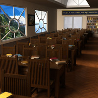 reading room library interior 3ds