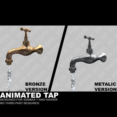 3ds max old tap water animation