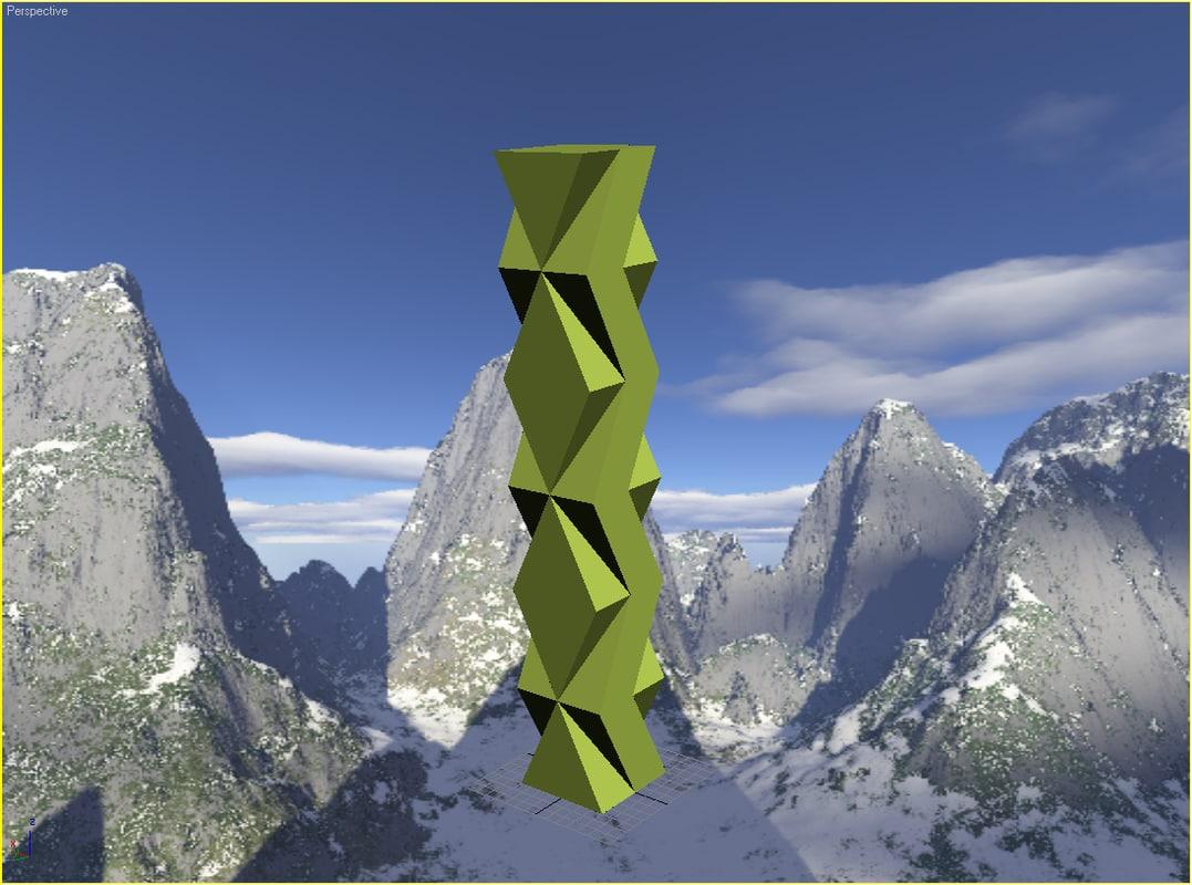3d paper tower model