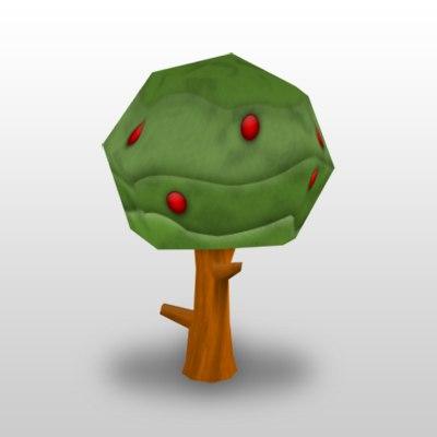 3d cartoon apple tree