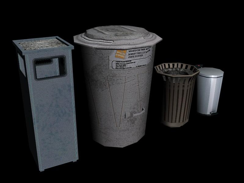 trashcans 3d max
