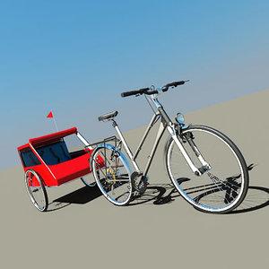 3d bike ladys trailer model