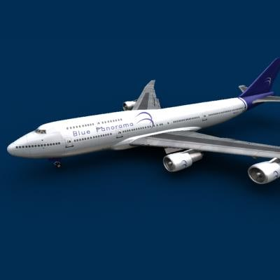 747-400 blue panorama 3d lwo