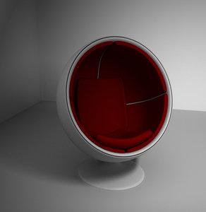 retro chair design 3d lwo