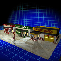 3 Gas Stations Retro Collection 01