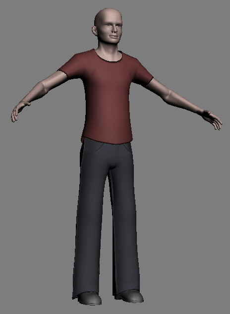3d human male character clothes model