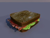3d sandwich bacon lettuce model