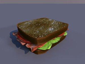 3d sandwich bacon lettuce model
