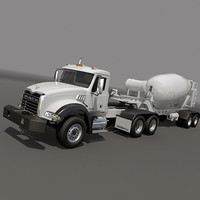 Mack Truck with concrete mixer trailer