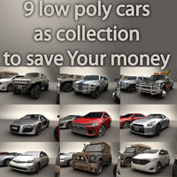 9 low poly cars collection