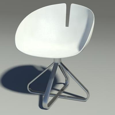 3d fjord chair revolution white model