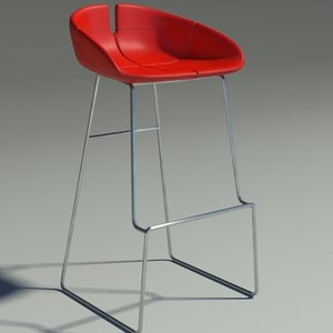 3d model fjord bar stool red