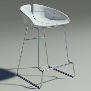 3d fjord bar stool white model