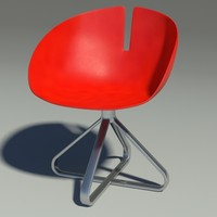 3d model fjord chair revolution red