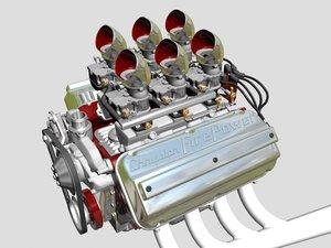 6x2 stromberg hemi v8 engine 3d 3ds