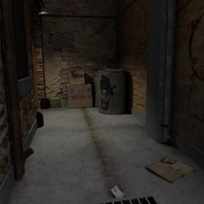 alley scene 3d model