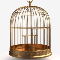 antique birdcage cage 3d model