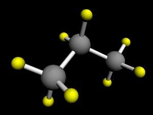 3d propane molecule model