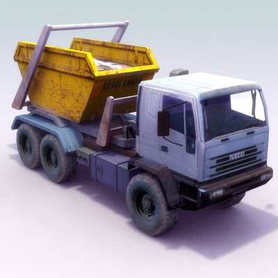 skip transport truck 3d 3ds