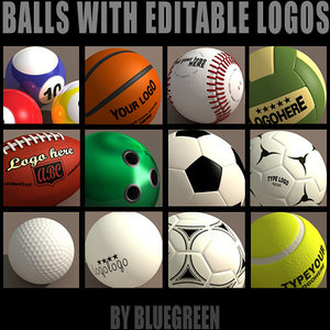 3dsmax sport balls logos