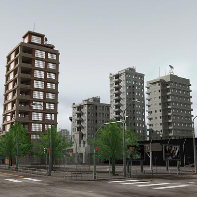 3d model city module buildings