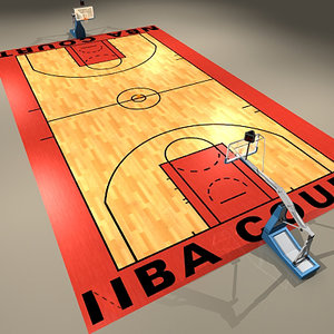3d official basketball court ball