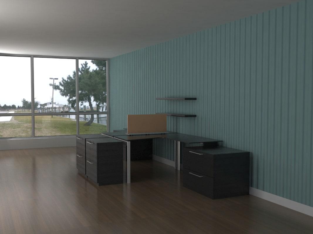 3d model desks shelving storage