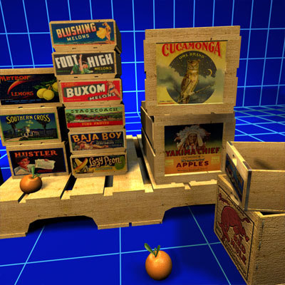 vintage fruit crate wood 3d max