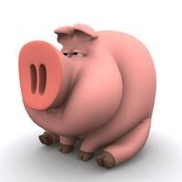 3d pig swine boar model