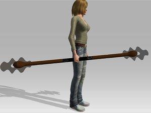 3d royalty bladed staff model