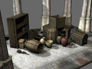 maya medieval props pack