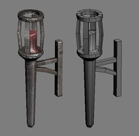 metal torch candle lighting 3d max