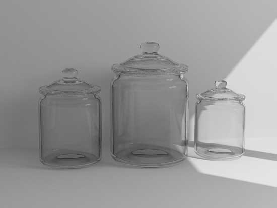 3d glass canisters