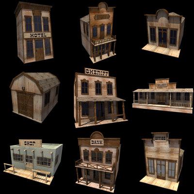 3d 9 western houses model