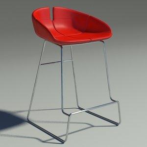 3d fjord bar stool red model
