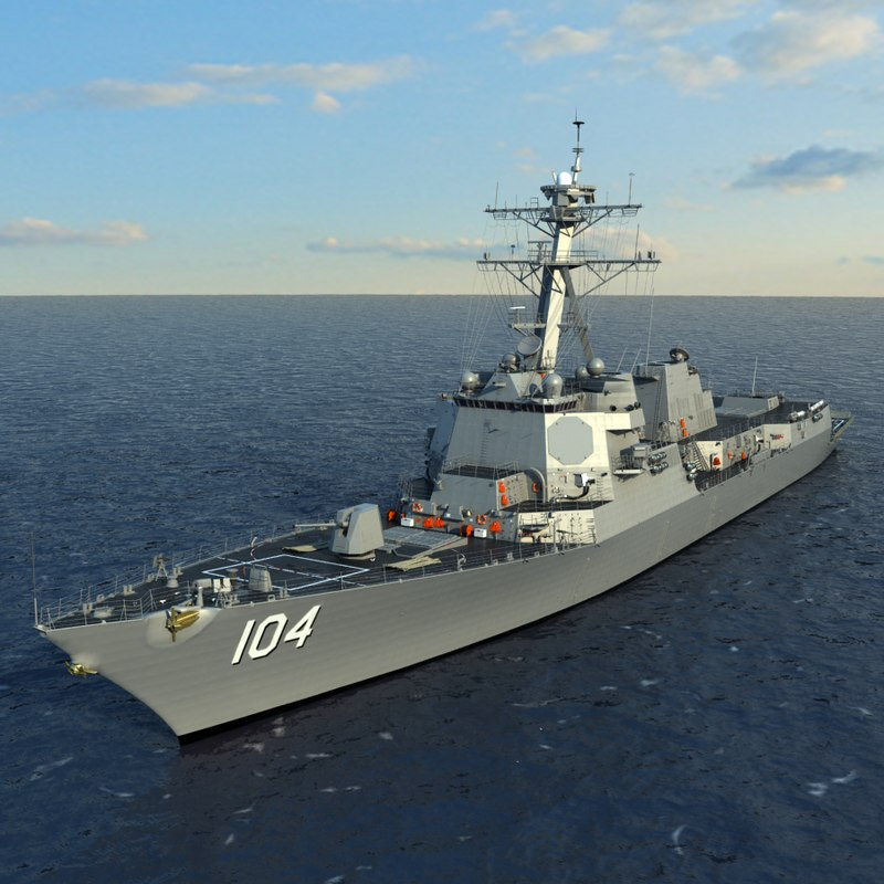 3d model uss sterett ddg-104 arleigh