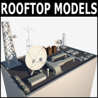 3ds max rooftop buildings modeled