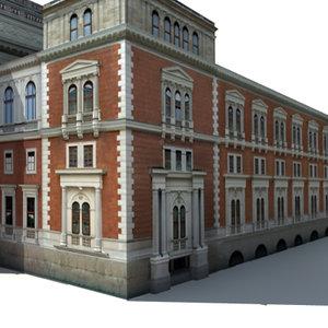 historic building mansion home 3d model