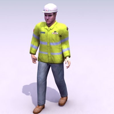 construction workman 3d max