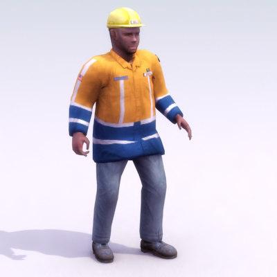 construction worker figure 3ds