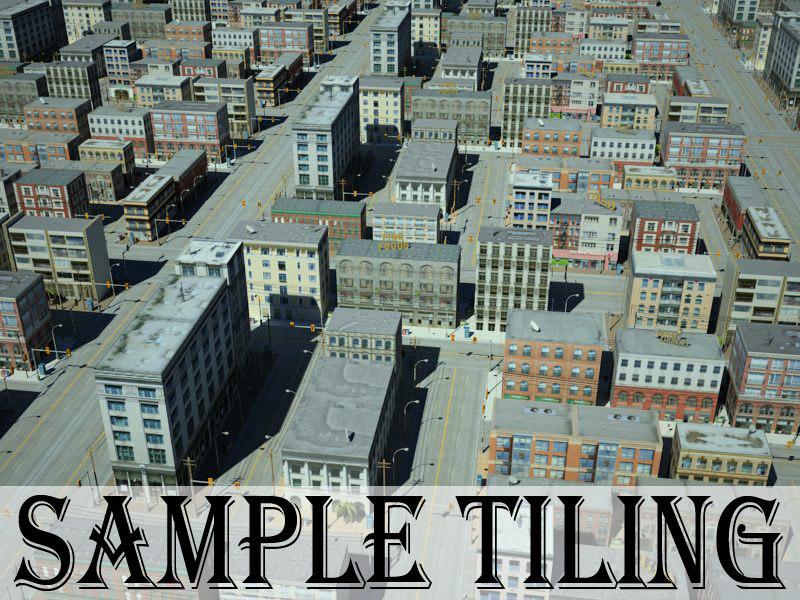 city block 2 buildings 3d model