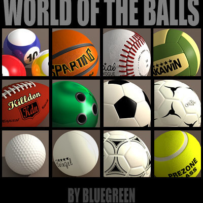 3d model balls baseball basketball