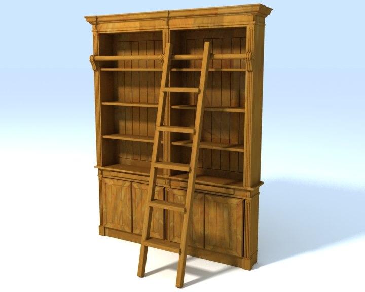 classic english style bookshelf 3d max