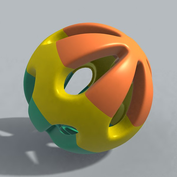 3d rattle ball toy model